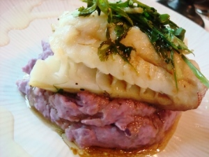 2nd main course: SUPER TWISTED! Lapu-Lapu in crusted potatoes---w/ Ube mash mind you! This one is HEAVENLY!